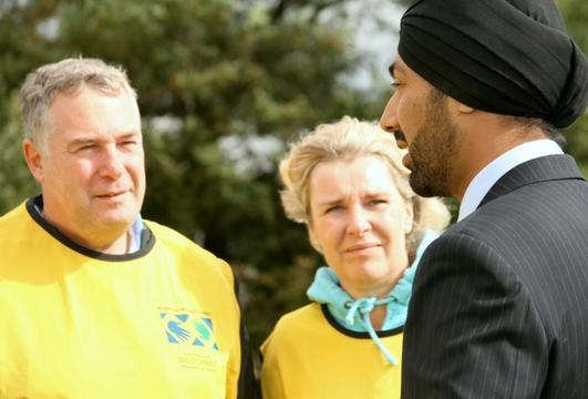 Elder and Sister Kopischke and Kulveer Ranger, the Mayor's Director of Environment