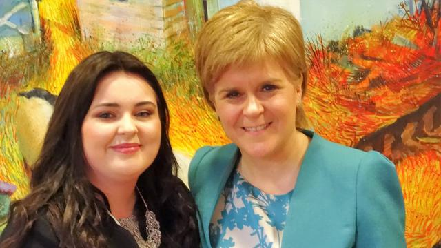Scotland's First Minister, Nicola Sturgeon, meets Dundee teenager, Chelsea Cameron