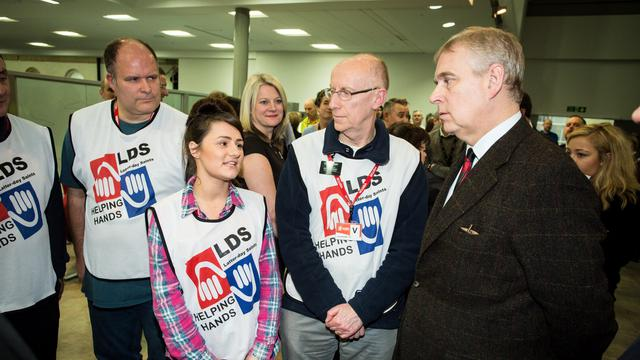 HRH Prince Andrew chats with Mormon Helping Hands volunteers in York