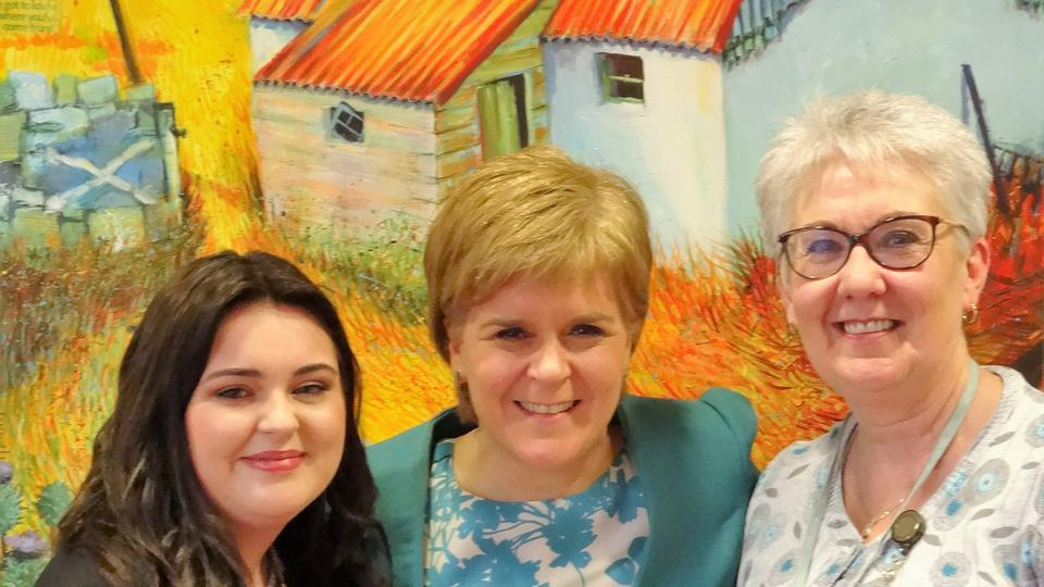 First Minister, Nicola Sturgeon, with Chelsea Cameron