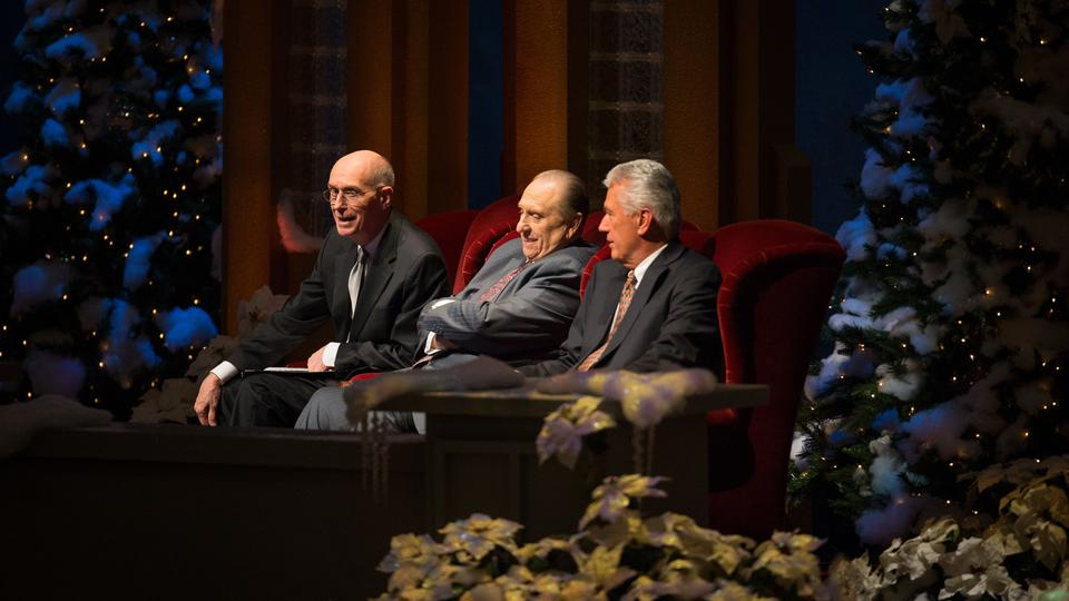 The Church's First Presidency prepares to speak at the annual Christmas devotional on Sunday, 2 December 2012