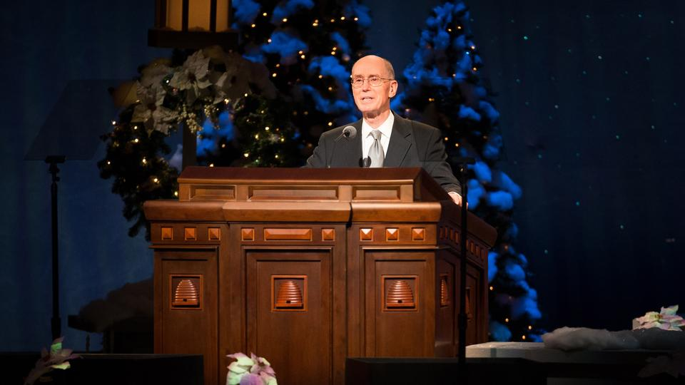 President Henry B. Eyring, first counselor in the First Presidency of the Church, spoke about the joy of giving at the annual Christmas devotional
