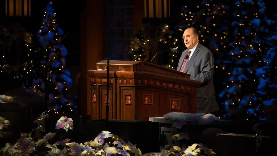 President Thomas S. Monson expressed his love during the annual Christmas devotional and encouraged Latter-day Saints to live the teachings of the Savior