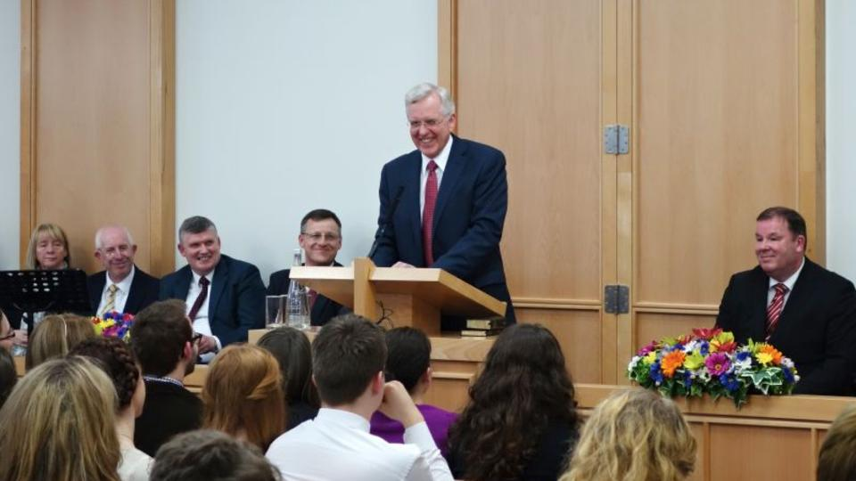 Elder Christofferson of the Quorum of the Twelve at the dedication of the Manchester YSA building