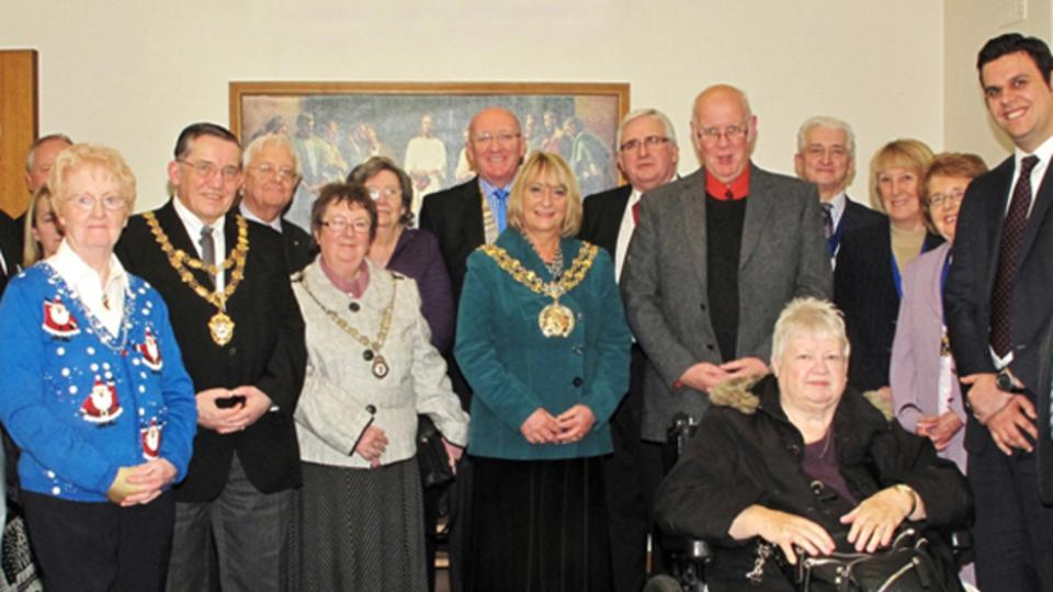 The Mayor of Thameside, Brenda Warrington, with deputy mayors from Oldham and Bury attend a concert in Ashton to support local charities
